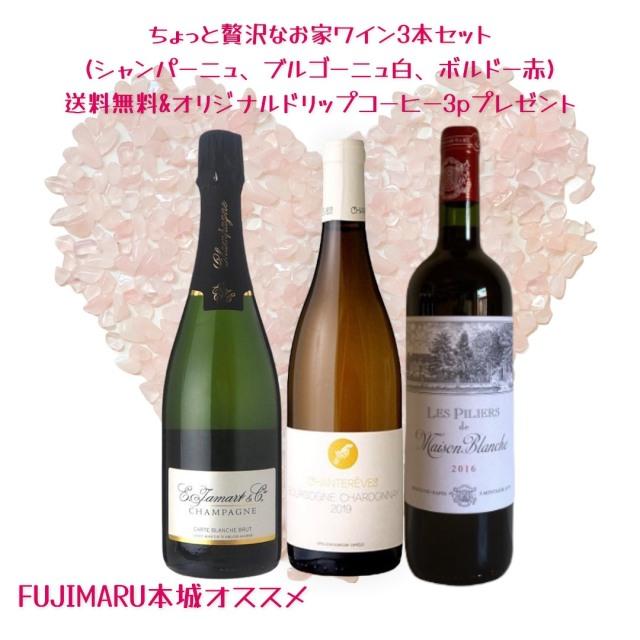 【送料無料】FUJIMARU本城おすすめ!ちょっと贅沢なお家ワイン3本セット★オリジナルドリップバックコーヒー3Pプレゼント※北海道・沖縄へは別途送料がかかります