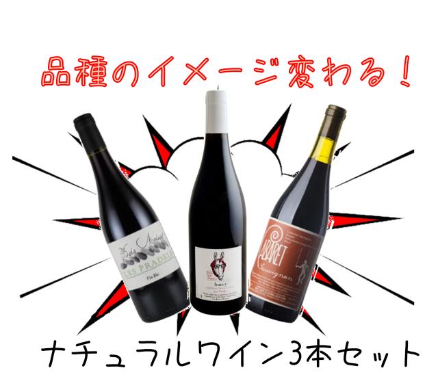 【送料無料】品種のイメージ変わる!ナチュラルワイン3本セット(赤3本)