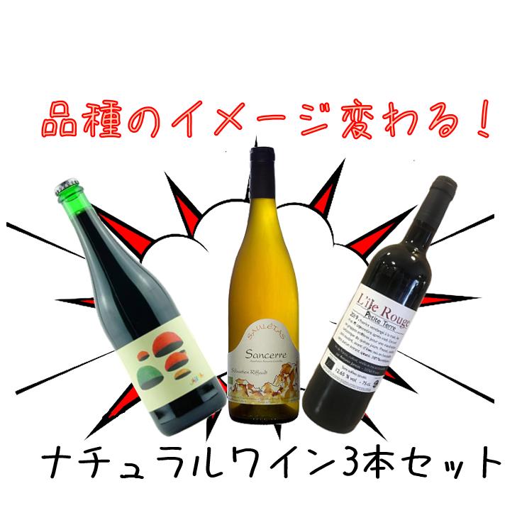 【送料無料】品種のイメージ変わる!ナチュラルワイン3本セット(白1本&赤2本)