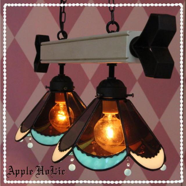 2灯ペンダントランプ 【 アーモンド 2Lights Almond 】 ステンドグラス ペンダントライト LED対応