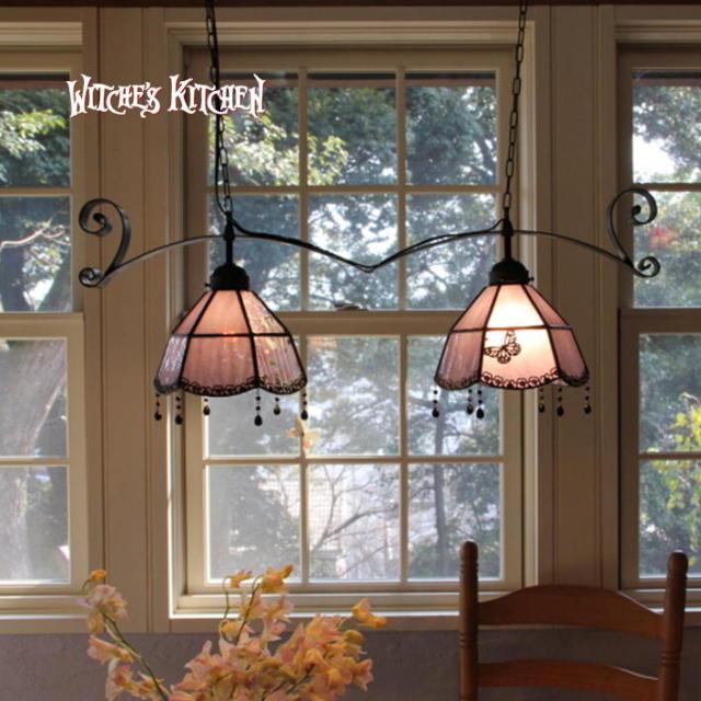 ジュモー Jumeaux  ステンドグラス ペンダントライト 2灯 | 天井照明 ランプ LED対応