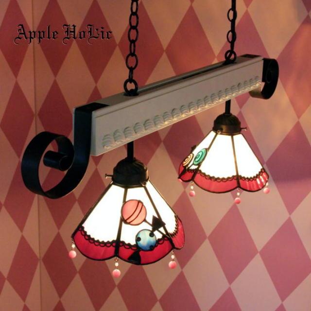 2灯ペンダントランプ 【ロリポップ 2Lights Lollypop 】 ステンドグラス ペンダントライト LED対応