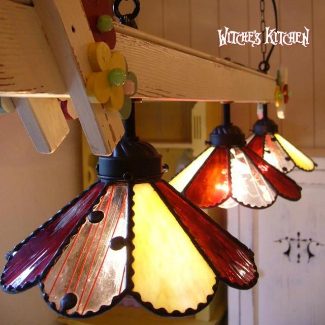 3灯ペンダントランプ 【 マーガレットガーデン  Marguerite Garden 】 ステンドグラス ペンダントライト LED対応