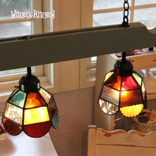 3灯ペンダントランプ 【 オランジェット Orangette 】 ステンドグラス ペンダントライト LED対応