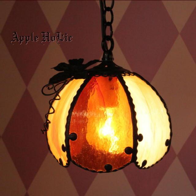 ペンダントランプ 【 ジャック・オー・ランタン ポルチェ Jack-o'-Lantern Porce 】 ステンドグラス ペンダントライトLED対応