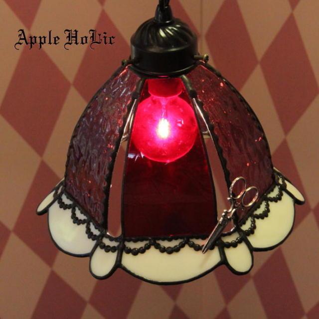 ペンダントランプ 【 リトルレッド(赤ずきん) Little Red 】 ステンドグラス ペンダントライト LED対応