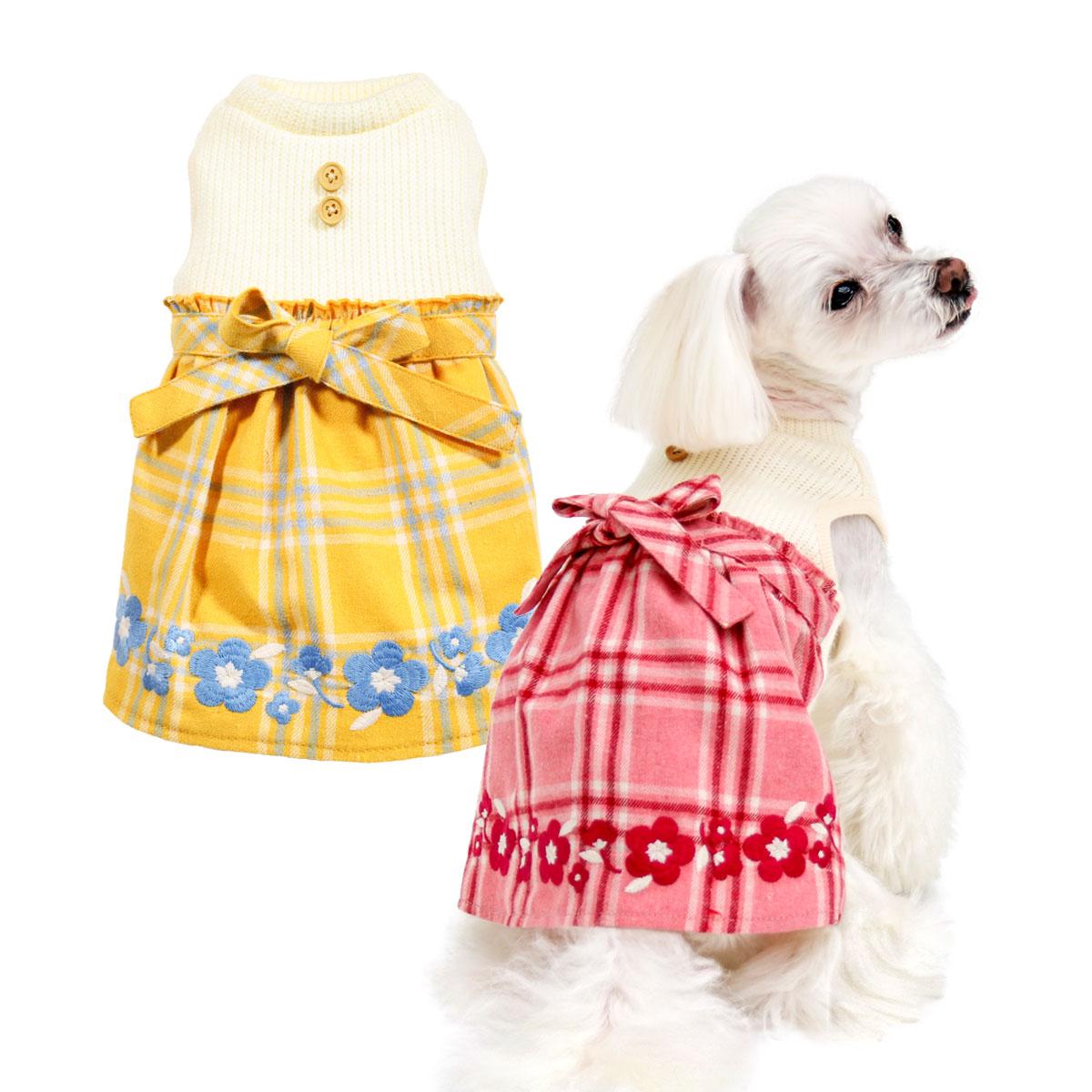 犬と生活 刺繍チェックワンピース
