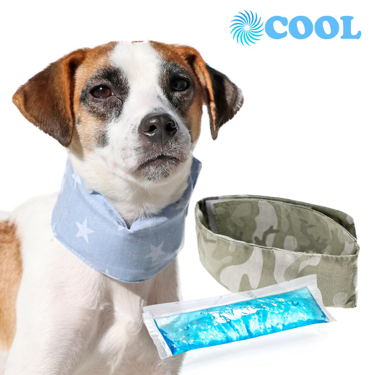 犬と生活 クールネックバンドスター・ミリタリー 凍らせても固くならない保冷剤付き