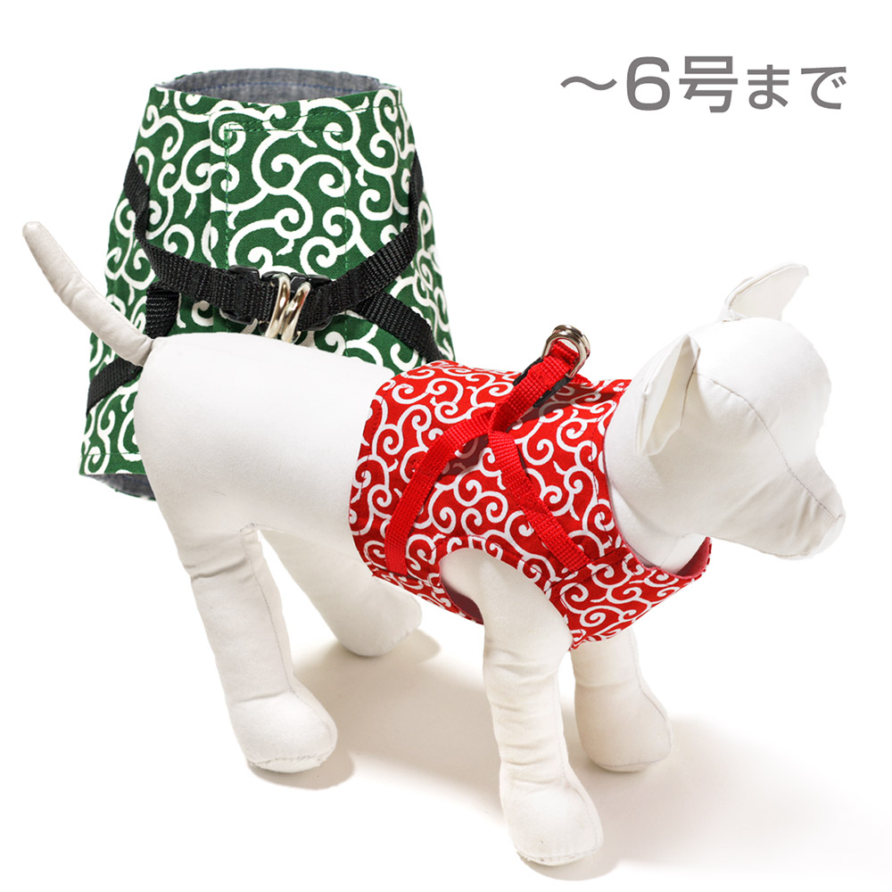 犬と生活 ボディハーネス唐草