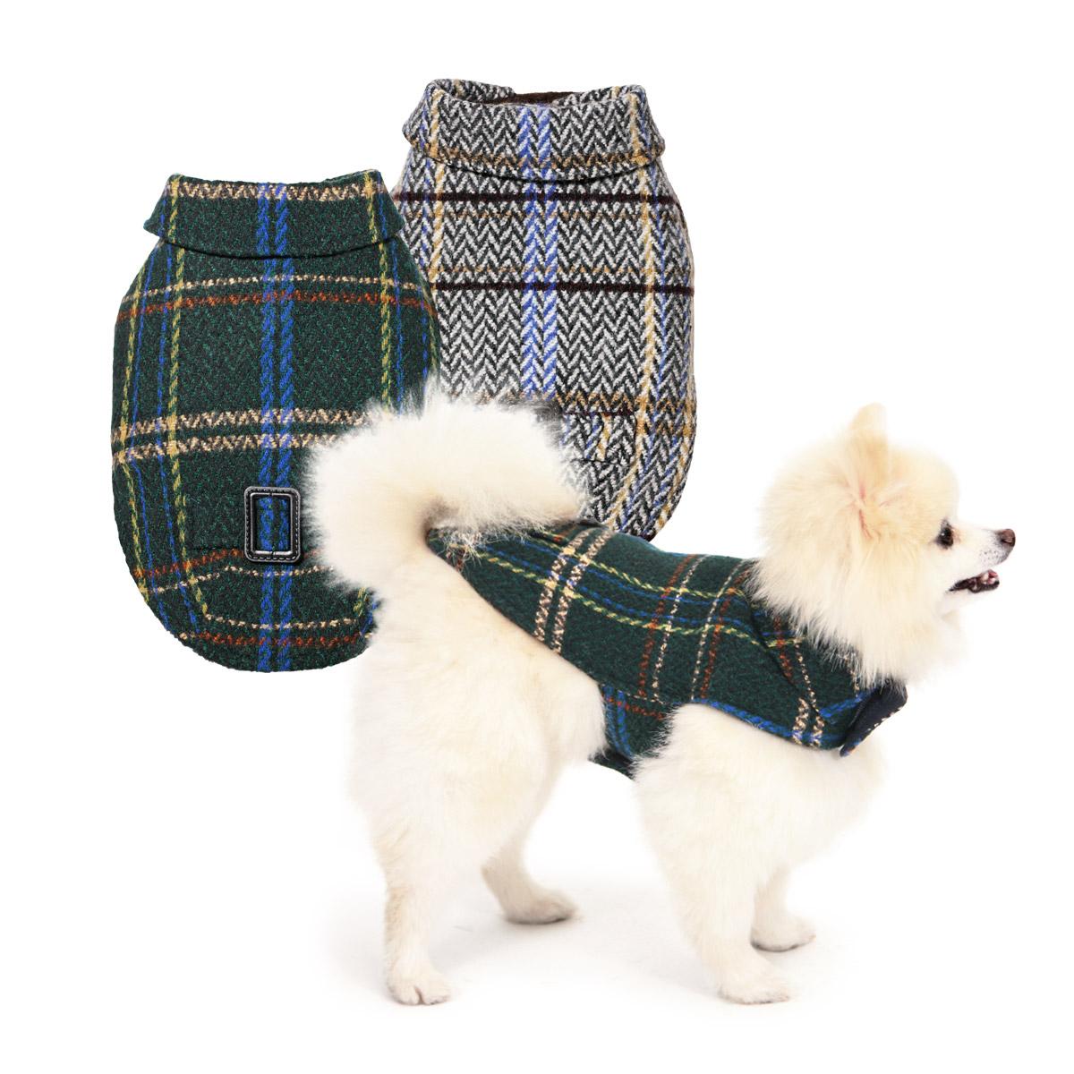 犬と生活 イージーコート【胸とお腹の2箇所を止めるだけのツィードコート】