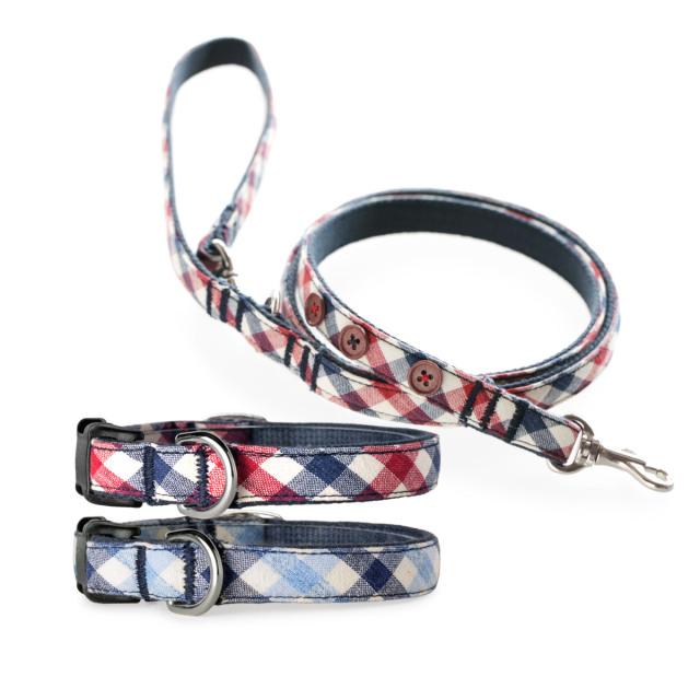 犬と生活 トリコチェック カラー・リード