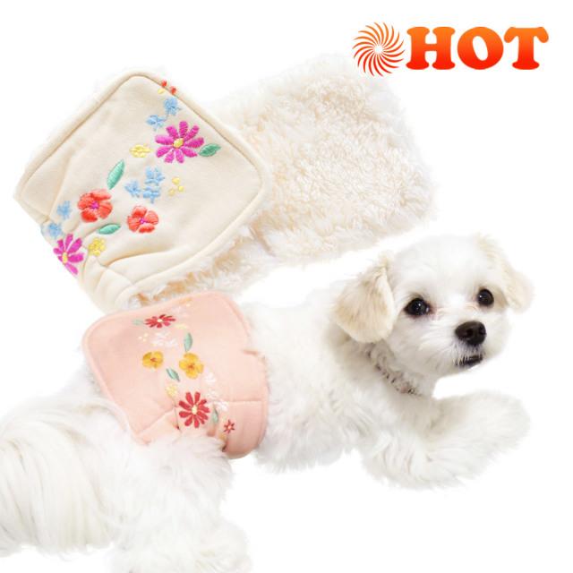 犬と生活 腹巻きサーモベルト花飾り