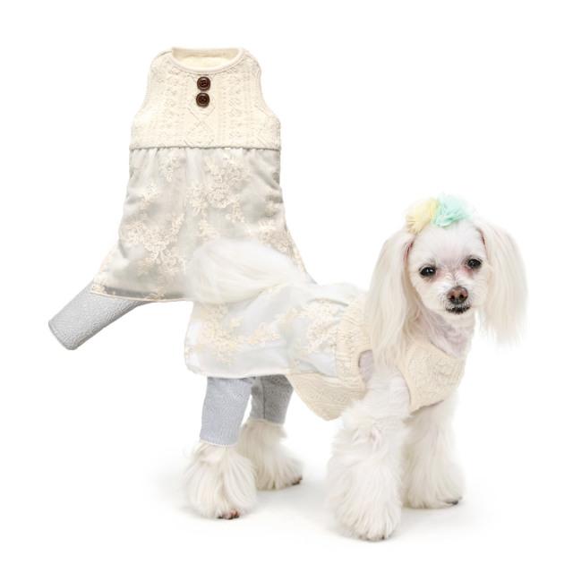 犬と生活 レーシースパッツワンピース