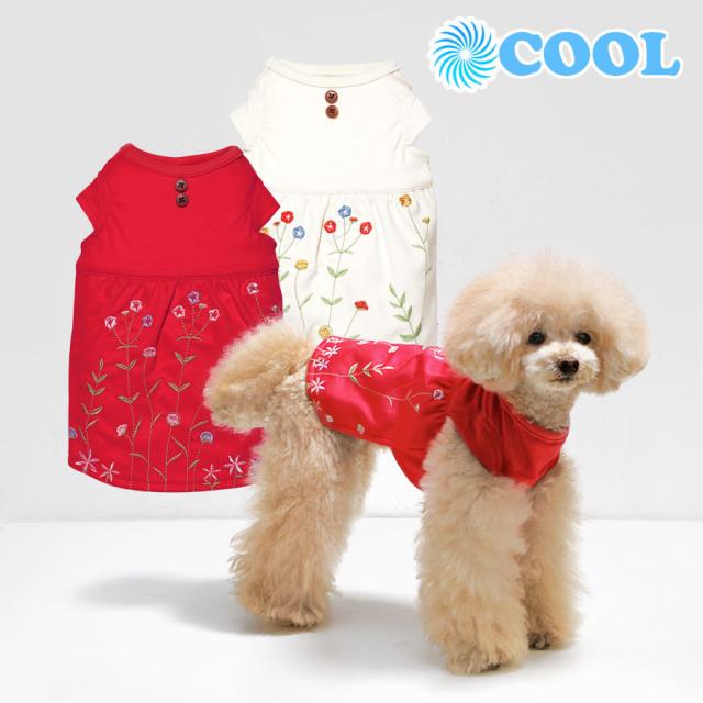 犬と生活 19ssクール刺繍ワンピース
