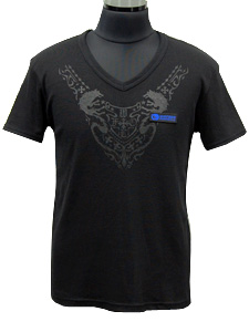 VネックTシャツ/ブラック