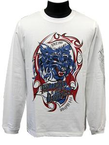 ロングスリーブTシャツ/ダークナイツウルフ/ホワイト