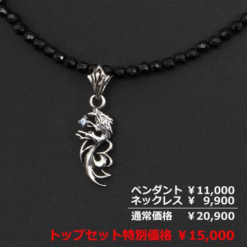 【秋のサンクスフェア特別価格】オニキスネックレス×パルメットウルフチャームペンダント