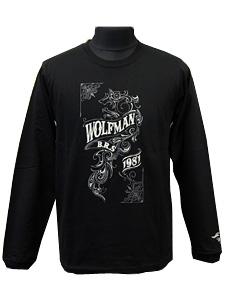 ロングスリーブTシャツ/ウルフ/ブラック