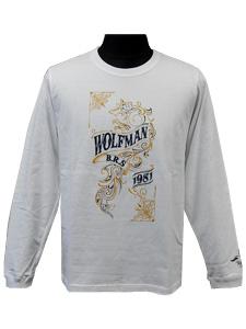 ロングスリーブTシャツ/ウルフ/ホワイト