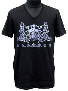 VネックTシャツ/ブラザーウルフ/ブラック