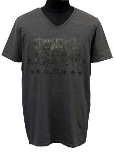 VネックTシャツ/ブラザーウルフ/グレー