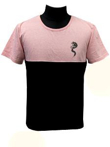 バイカラーTシャツ/ホワイトファングウルフ/ピンク×ブラック