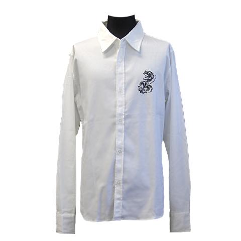 コットンサテンストレッチシャツ/ウルフフレア/ホワイト