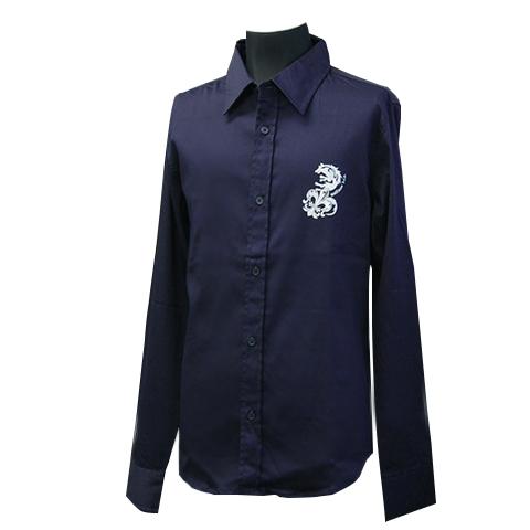 コットンサテンストレッチシャツ/ウルフフレア/ネイビー