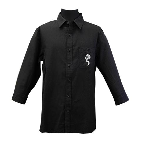 綿麻混紡七分袖シャツ/ホワイトファングウルフ/ブラック