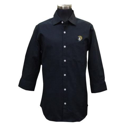 ウルフムーン七分袖ストレッチシャツ/ブラック