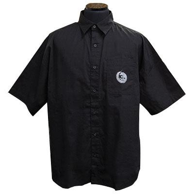 ビッグシルエットムーンウルフブロードシャツ ブラック