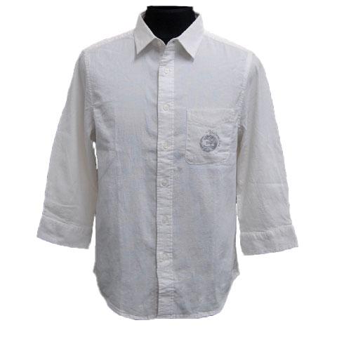 ナイトウルフコットンリネン七分袖シャツ/ホワイト