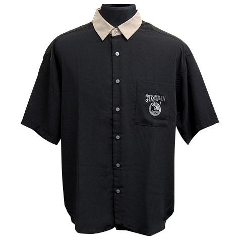 ケルティックウルフ半袖クレリックシャツ/ブラック