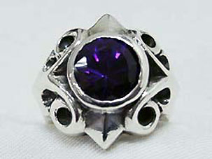 SK Large Majestic Ring With Big Stone パープル