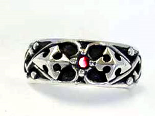 SK Crusader Ring With Stone/RED (R‐010)