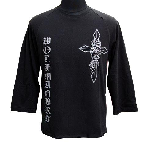 パルメットウルフラグラン七分袖Tシャツ/ブラック