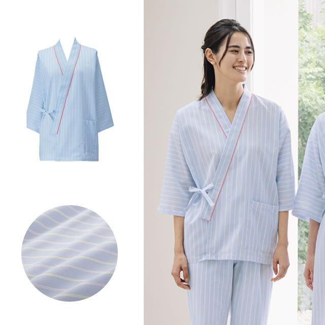 KAZEN(カゼン) 285-98 ストライプ患者衣(甚平型)