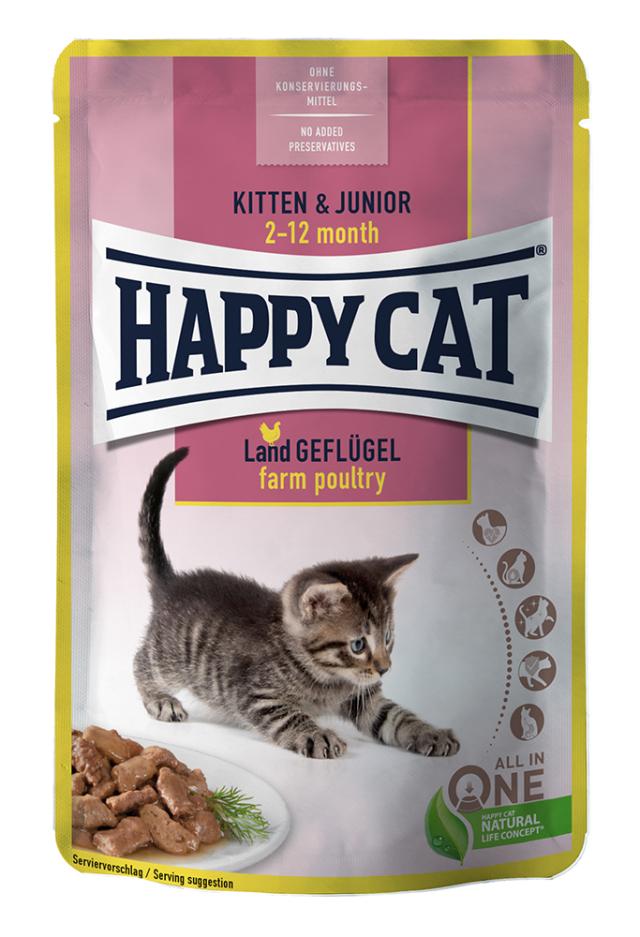 HAPPY CAT ジュニア ファーム ポルトリー パウチ(平飼いチキン / 子猫用) 85g【ネコポス可】