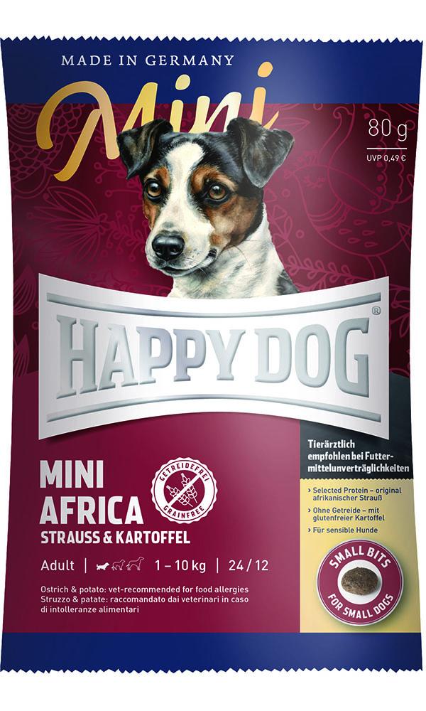 HAPPY DOG ミニ アフリカ(ダチョウ)アレルギーケア - 80g 【ネコポス可】