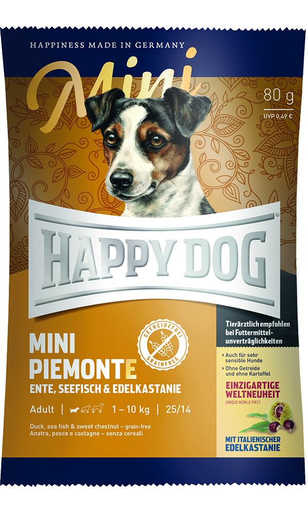 HAPPY DOG ミニ ピエモンテ(栗、ダック&シーフィッシュ)グレインフリー - 80g 【ネコポス可】