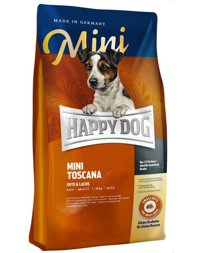 【定期購入】 HAPPY DOG ミニ トスカーナ(ダック&サーモン)ウェイトケア - 1kg