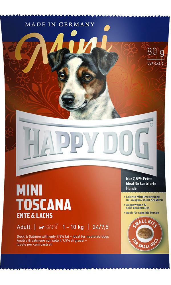HAPPY DOG ミニ トスカーナ(ダック&サーモン)ウェイトケア - 80g 【ネコポス可】