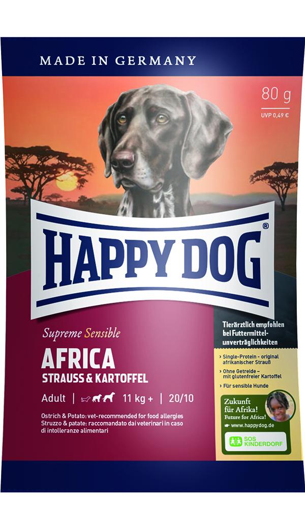 HAPPY DOG アフリカ(ダチョウ)アレルギーケア - 80g 【ネコポス可】