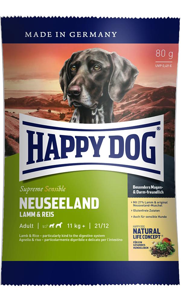 HAPPY DOG ニュージーランド(ラム&ライス)消化器ケア - 80g 【ネコポス可】