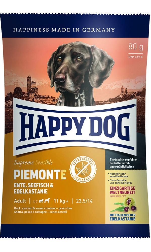 HAPPY DOG ピエモンテ(栗、ダック&シーフィッシュ)グレインフリー - 80g 【ネコポス可】
