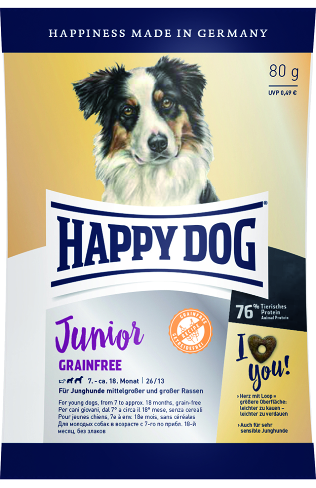 HAPPY DOG ジュニア グレインフリー (穀物不使用) - 80g 【ネコポス可】