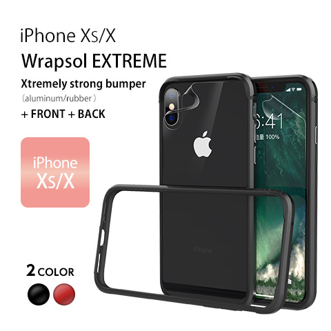 iPhone XS/X Wrapsol EXTREME Xtremely strong bumper(aluminum/rubber) FRONT + BACK iPhone XS/X 2 COLOR