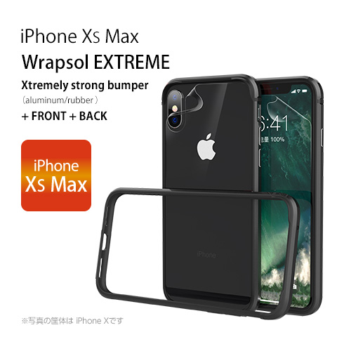 iPhone XS Max Wrapsol EXTREME Xtremely strong bumper(aluminum/rubber) FRONT + BACK iPhone XS Max