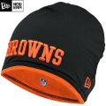 NFL サイドライン Tech ニットキャップ ブラウンズ New Era Cleveland Browns Sideline Tech Knit Cap - Black/Orange