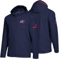 NHL Squad Wovenフルジップフーディー ブルージャケッツ(ネイビー) adidas Columbus Blue Jackets Navy Squad Woven Full-Zip Hoodie